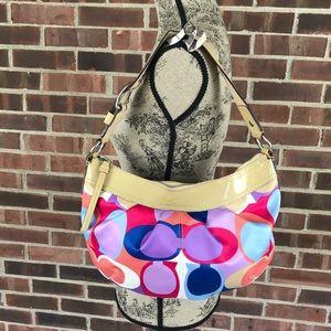 Coach multi color hobo bag